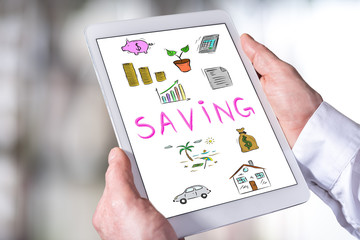 Saving concept on a tablet