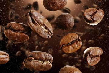 Poster de jardin Salle de cafe coffee grains macro photo
