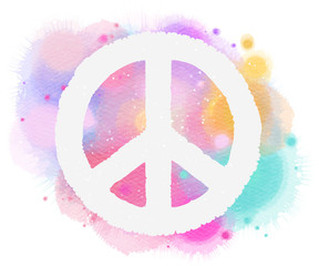 Watercolor peace symbol. Digital art painting