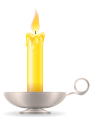 candle with candlestick old retro vintage icon stock vector illustration