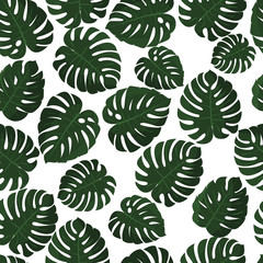 Tropical leaves. Vector. Seamless pattern in swatch. Monstera wallpaper. Exotic texture with greenery hawaiian leaf. Floral summer background. Jungle leaves. Trendy popular design.