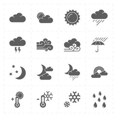 sixteen flat modern weather icons