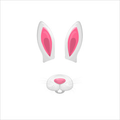 Rabbit face elements. Vector illustration. Animal character ears and nose. Video chart filter effect for selfie photo decoration. Cartoon white hare mask. Isolated on white. Easy to edit.