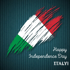 Italy Independence Day Patriotic Design. Expressive Brush Stroke in National Flag Colors on dark striped background. Happy Independence Day Italy Vector Greeting Card.