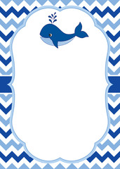 1036280 Vector Card Template with a cute Whale on Chevron Background. Vector Nautical.