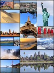 World landmarks postcard