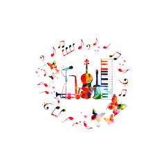 Music instruments background. Colorful violoncello, guitar, piano, saxophone, trumpet and microphone with music notes isolated vector illustration