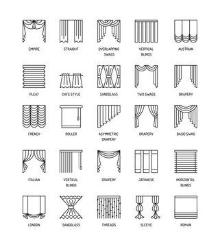 Vector line icons with drapes. Window curtains, blinds and shades.