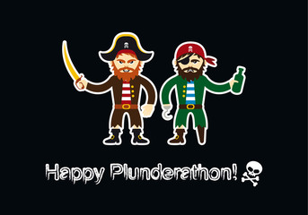Plunderathon invitation card vector. Cartoon characters of pirates. Vector illustration of pirates on a black background. Important day