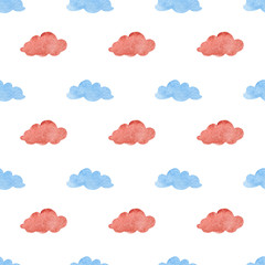 Watercolor illustrations of Clouds. Cute seamless pattern.