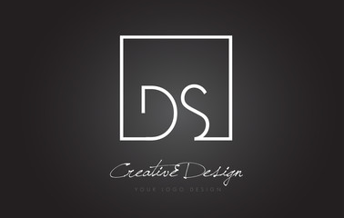DS Square Frame Letter Logo Design with Black and White Colors.