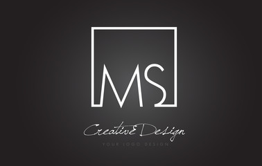 MS Square Frame Letter Logo Design with Black and White Colors.
