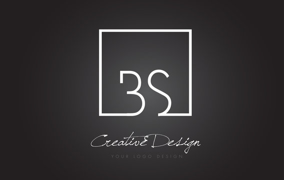 BS Square Frame Letter Logo Design with Black and White Colors.