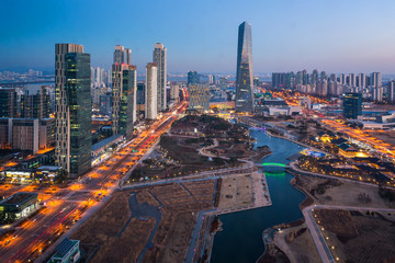 Korea city with Beautiful after sunset, Central park in Songdo District, Incheon South Korea.