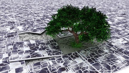 Green tree in the tile fracture, ekostyle, 3D rendering