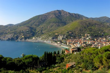 Hilltop view of coastal Levanto, Italy, just north of the famous Cinque Terre