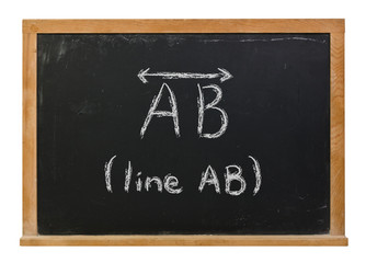 Line AB with symbol written in white chalk on a black chalkboard isolated on white