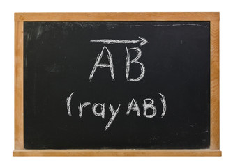 Ray AB written in white chalk on a black chalkboard isolated on white