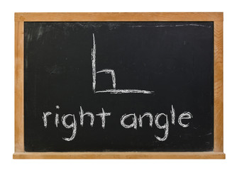 Right angle written in white chalk with a picture on a black chalkboard isolated on white