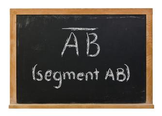 Line Segment written in white chalk on a black chalkboard isolated on white