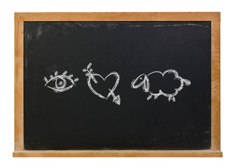 I love you written with symbols in white chalk on a black chalkboard isolated on white