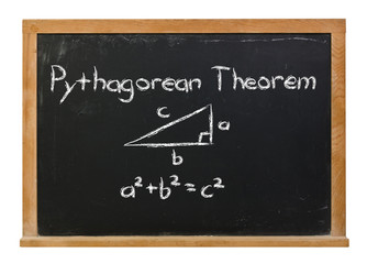 Pythagorean Theorem written in white chalk on a black chalkboard isolated on white