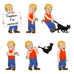 Vector Illustration little hellion boy set emotions. Boy has untidy appearance and holding in his hand a slingshot