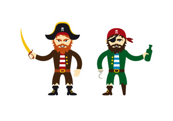 Pirate cartoon character. Pirate vector on a white background