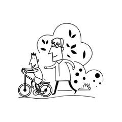 kids Learn bike with grandpa cartoon illustration