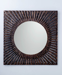 Square mirror created in dark steel frame
