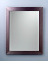 Rectangle mirror created in dark purple wood frame