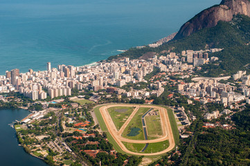 View of Jockey Club and Leblon Neighborhood From Corcovado Mountain in Rio de Janeiro, Brazil