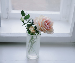 Florist composition with rose on windowsill