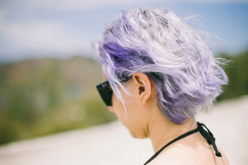 Woman with purple hair, looking at view, San Pablo, Brazil