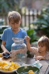 Boy and two young sister preparing lemon juice for lemonade at garden table