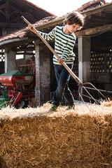 Boy on straw bale with pitchfork on organic dairy farm