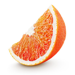 Ripe wedge of blood red orange citrus fruit isolated on white background. Sanguinello blood orange slice with clipping path