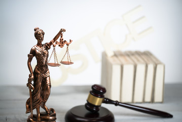 Law and justice theme. Gavel and justice symbols