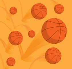 Large group of basketballs bouncing