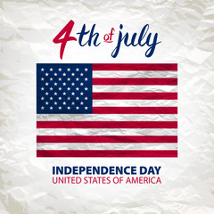 Fourth of July USA Independence Day greeting card. 4 th of July. United States of America celebration wallpaper. national holiday US flag card design.