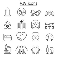 AIDS ,HIV icon set in thin line style