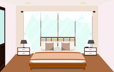 Bedroom interior with furniture Glass window. Vector flat illustration.