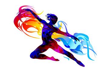 Silhouette of a man jumping.  Rhythmic gymnastics. Ballet dancer