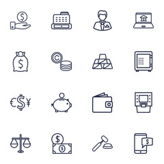 Set Of 16 Finance Outline Icons Set.Collection Of Coins, Moneybag, Savings And Other Elements.