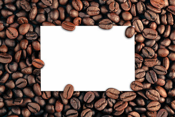 paper on coffee bean background concept copy space