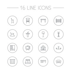 Set Of 16 Decor Outline Icons Set.Collection Of Chair, Washbasin, Hanger And Other Elements.