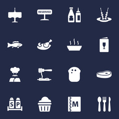 Set Of 16 Bar Icons Set.Collection Of Broth, Catsup, Canape And Other Elements.