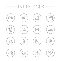 Set Of 16 Fitness Outline Icons Set.Collection Of Barbell, Stopwatch, Whistle And Other Elements.