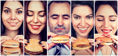 Group of happy people eating cheeseburgers