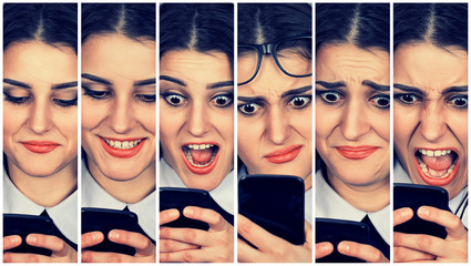 Woman using smart phone changing emotions